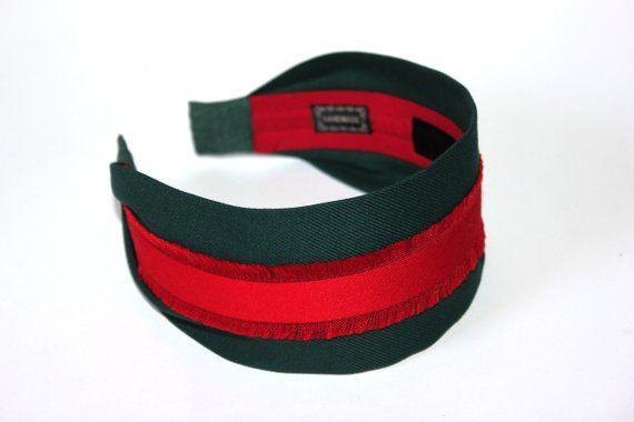 a33540df4fa Designer inspired headband Green and Red head band GG Headband Narrow  headband women pretty hairband trendy headpiece Gossip Girl accessory