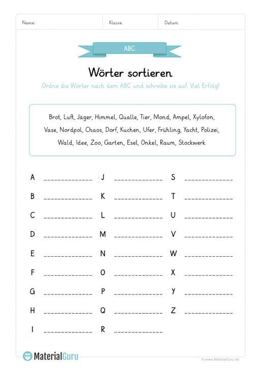 ein kostenloses arbeitsblatt zum abc alphabet auf dem die sch ler w rter nach dem abc sortieren. Black Bedroom Furniture Sets. Home Design Ideas