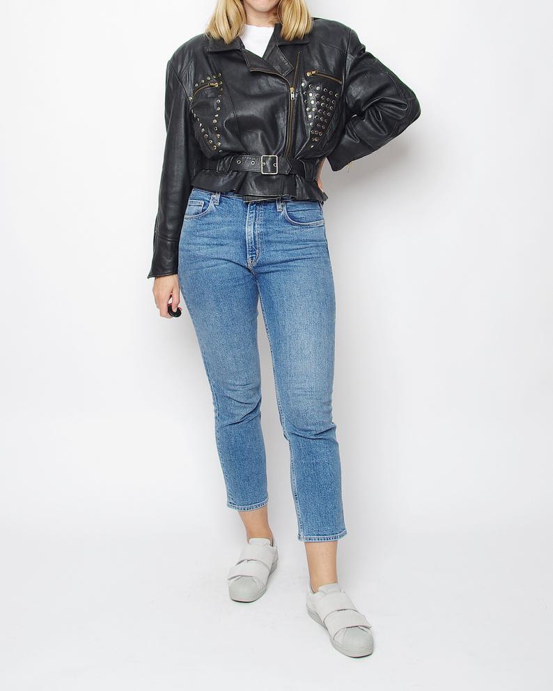 80s Punk Rock Leather Jacket Vintage Women Biker Jacket Etsy Womens Biker Jacket Vintage Leather Jacket Black Leather Coat [ 992 x 794 Pixel ]