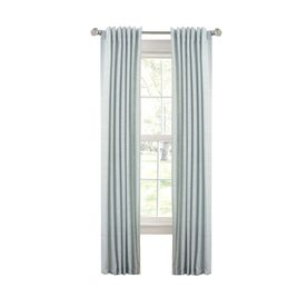 Allen Roth Evington 95 In Mineral Blue Cotton Back Tab Light Filtering Single Curtain