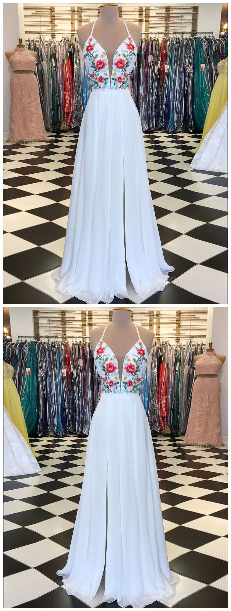 White prom dress aline floral embroidery spaghetti straps elegant
