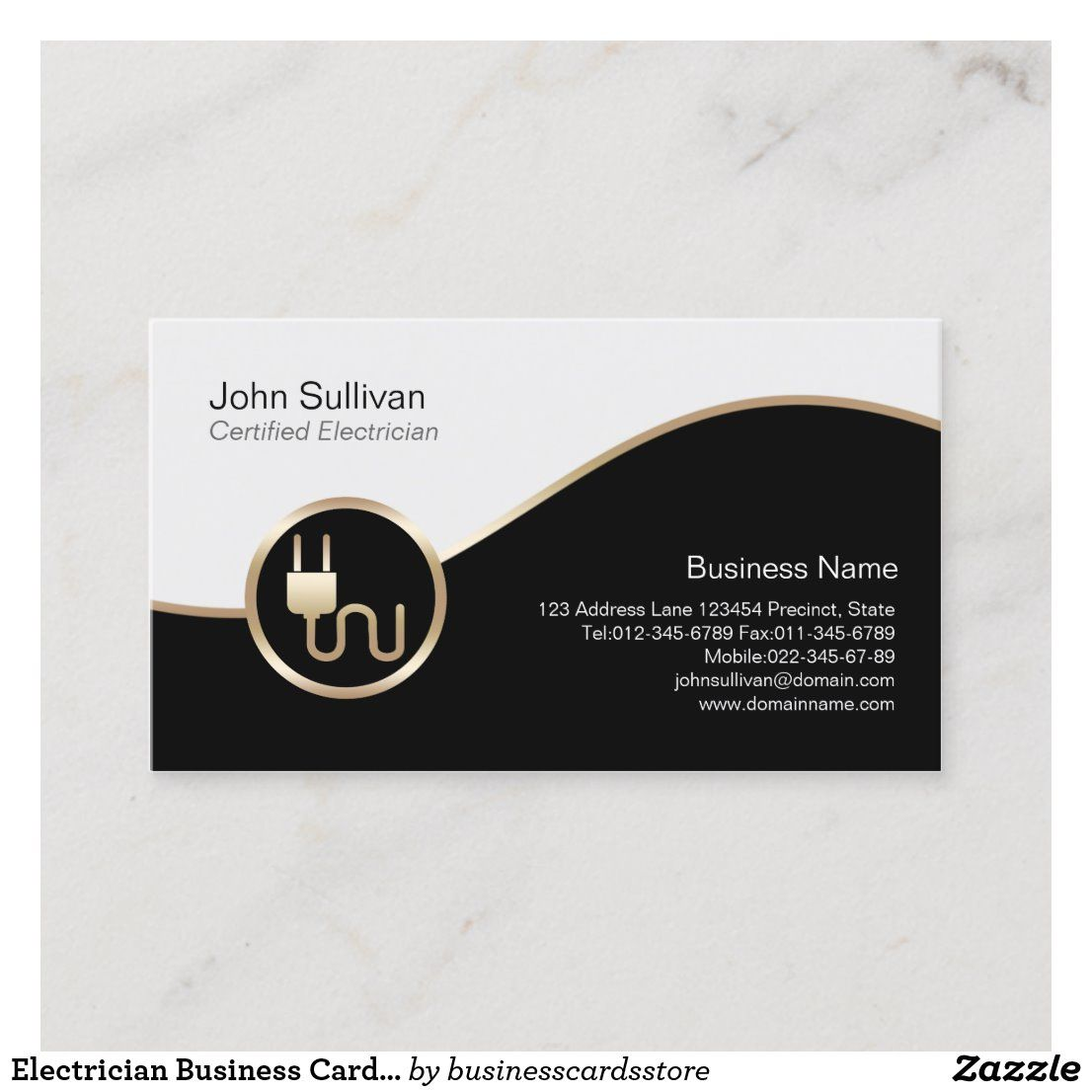 Electrician Business Card Electric Plug Icon Zazzle Com Business Card Graphic Business Card Logo Design Electrician