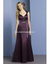 2012 romantisches Brautjungfernkleid aus Satin V-Ausschnitt Bodenlang A-Linie