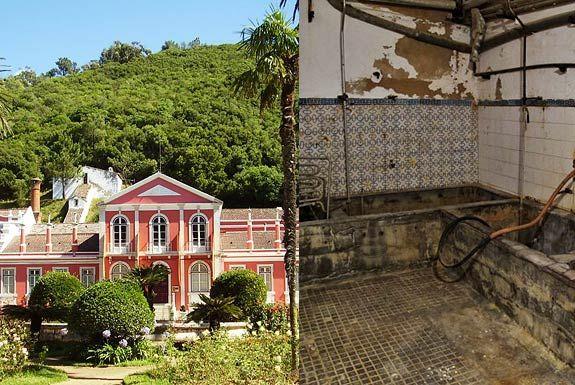 Do lado de fora, os edifícios das Termas dos Cucos estão bem pintados e o jardim bem arranjado, mas no interior são já visíveis sinais de de...