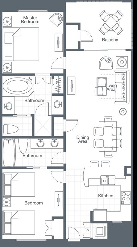 Sheraton Vistana Villages 2 Bedroom Floor Plan