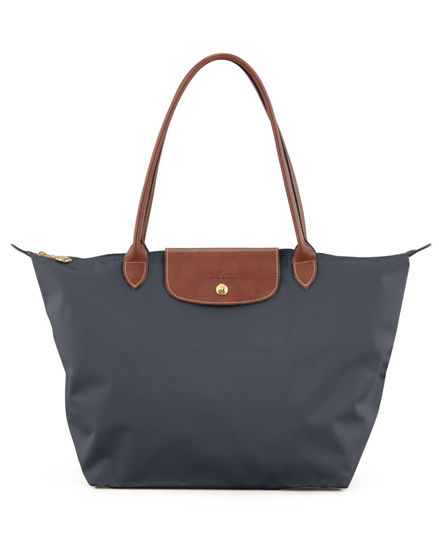 Le Pliage Large Monogram Shoulder Tote Bag, Dark Gray, Grey - Longchamp 870f265672