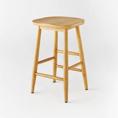 Haddonfield All Wood Backless Counter Height Barstool Natural Threshold Designed With Studio Mcgee In 2021 Bar Stools Counter Stools Counter Stools Backless Wood backless bar stool