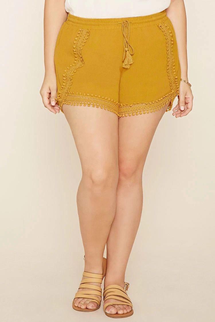 b007e0127eb Plus Size Crochet-Trim Shorts  forever21plus