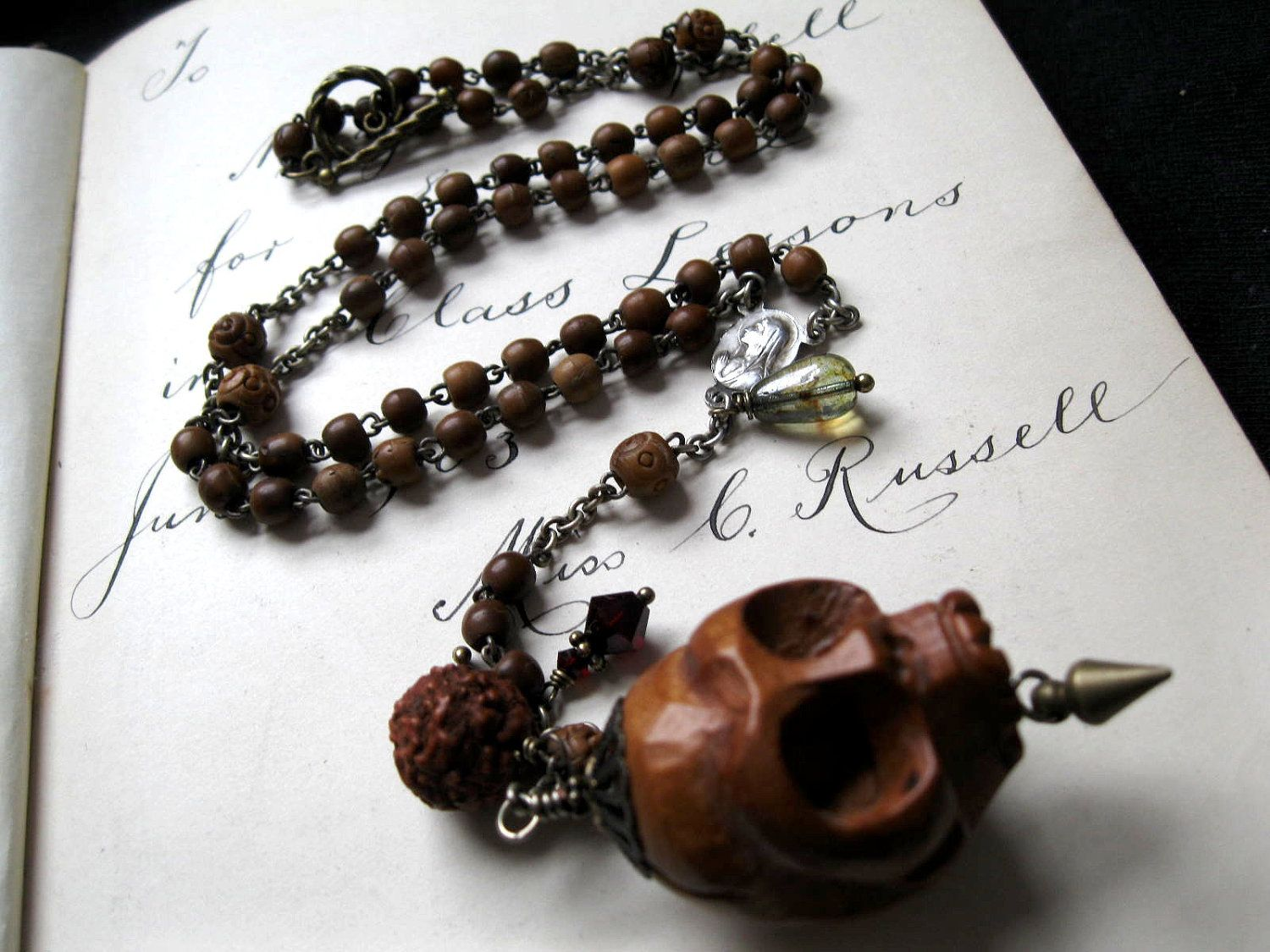 Details about q101207 amazing 102 quot coral amp onyx necklace - Momento Mori Carved Wooden Skull Vintage Rosary Necklace With Rudraksha Bead And Glass Tear
