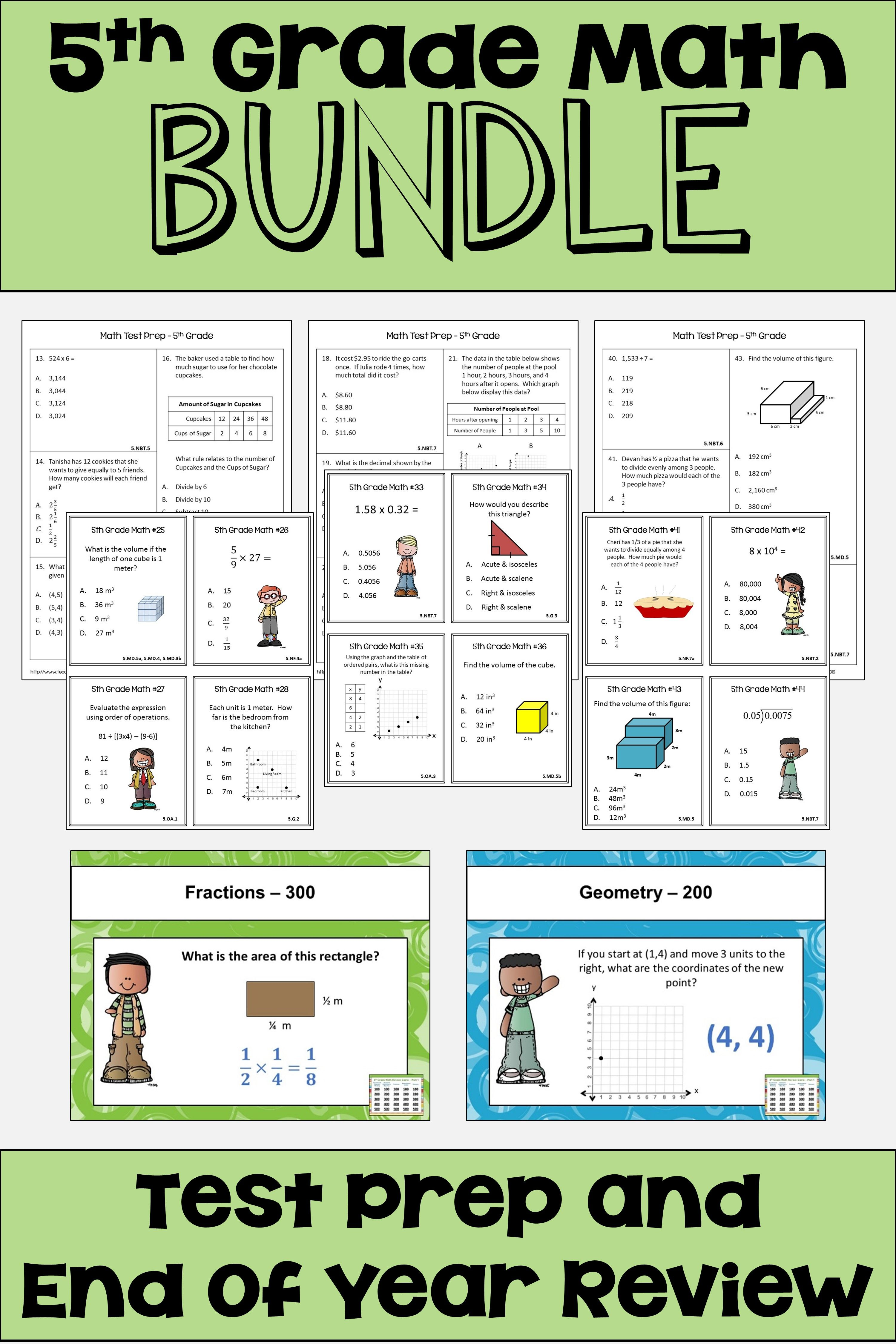 These 5th Grade Math Worksheets Task Cards And Games Are