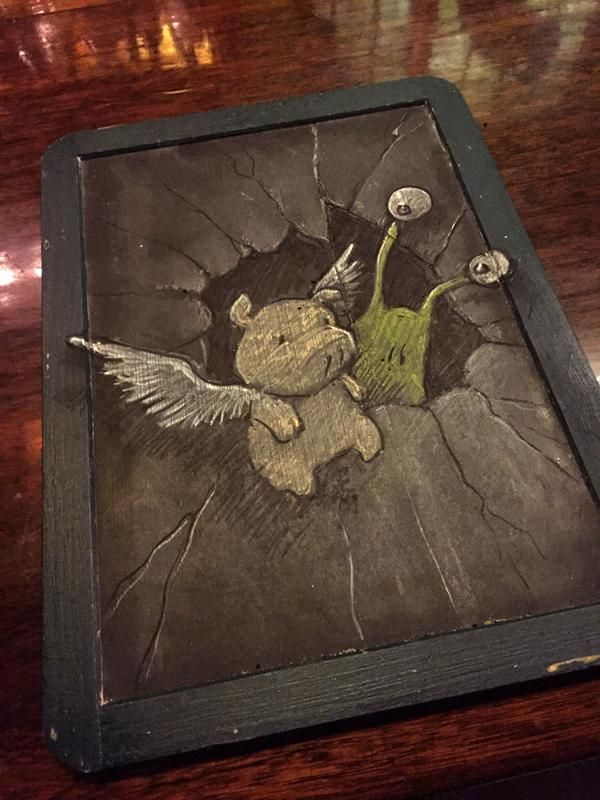 David Zinn. When the weather's bad there's always restaurant menu boards.....