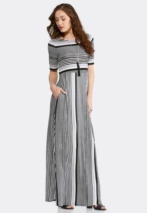 Cato Fashions Plus Size Black And White Stripe Maxi Dress ...