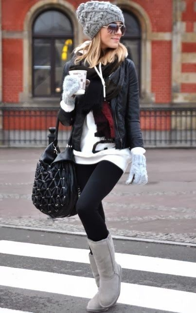 Winter Outfit With Beanie,Shades and Long Boots