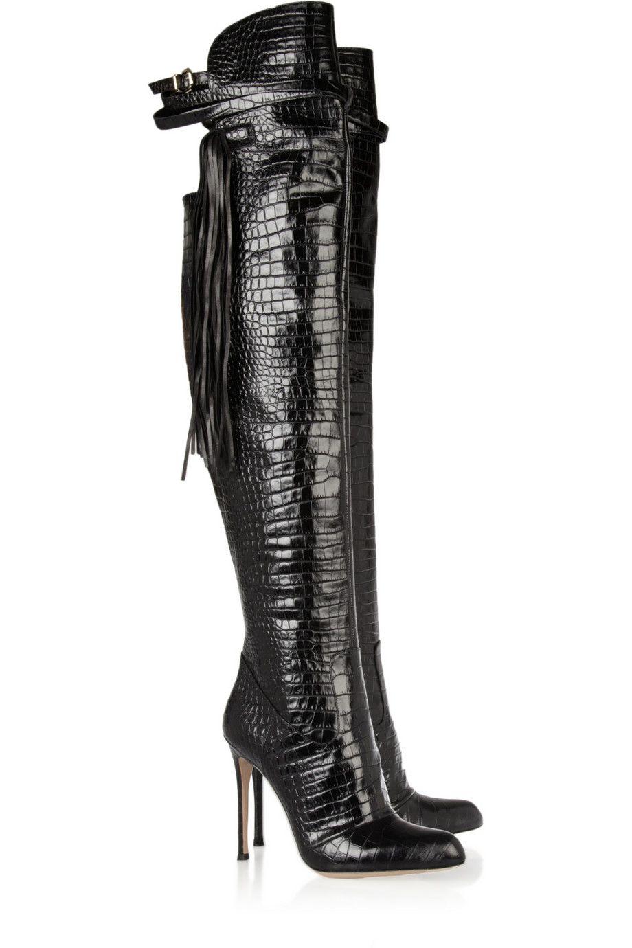 031de17a8f9 Altuzarra   Tasseled croc-effect leather over-the-knee boots   Sky ...