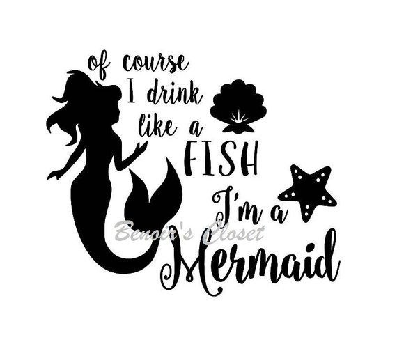 c3cdb086b Of Course I Drink Like A Fish I'm a Mermaid shell SVG File, Vector, Cricut,  Silhouette - instant dow
