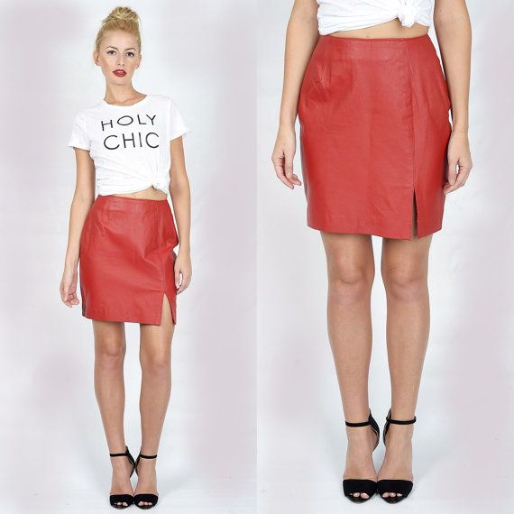 bd42dd6dd2 Vintage 80s Red Leather Skirt Mini High Waist Moto Wiggle XS Small ...