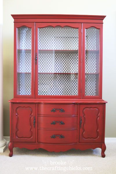 Red hutch on pinterest kitchen hutch redo white china for Painted dining room hutch ideas