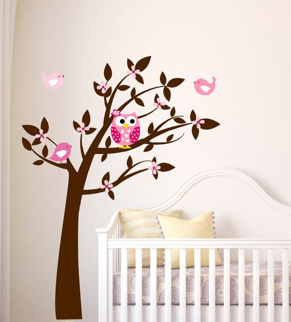 Owl wall decal tree vinyl wall decals childrens wall art owl decor