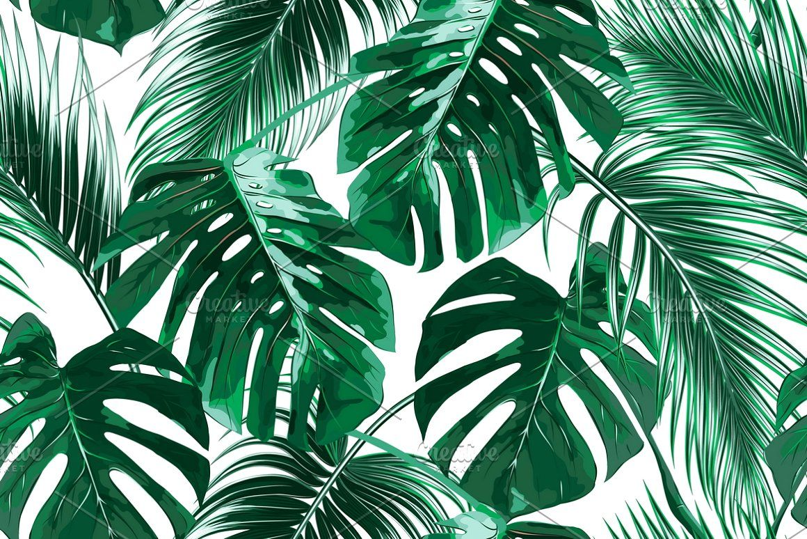 Tropical Leaves Vector Pattern Aesthetic Desktop Wallpaper Tropical Wallpaper Leaf Background