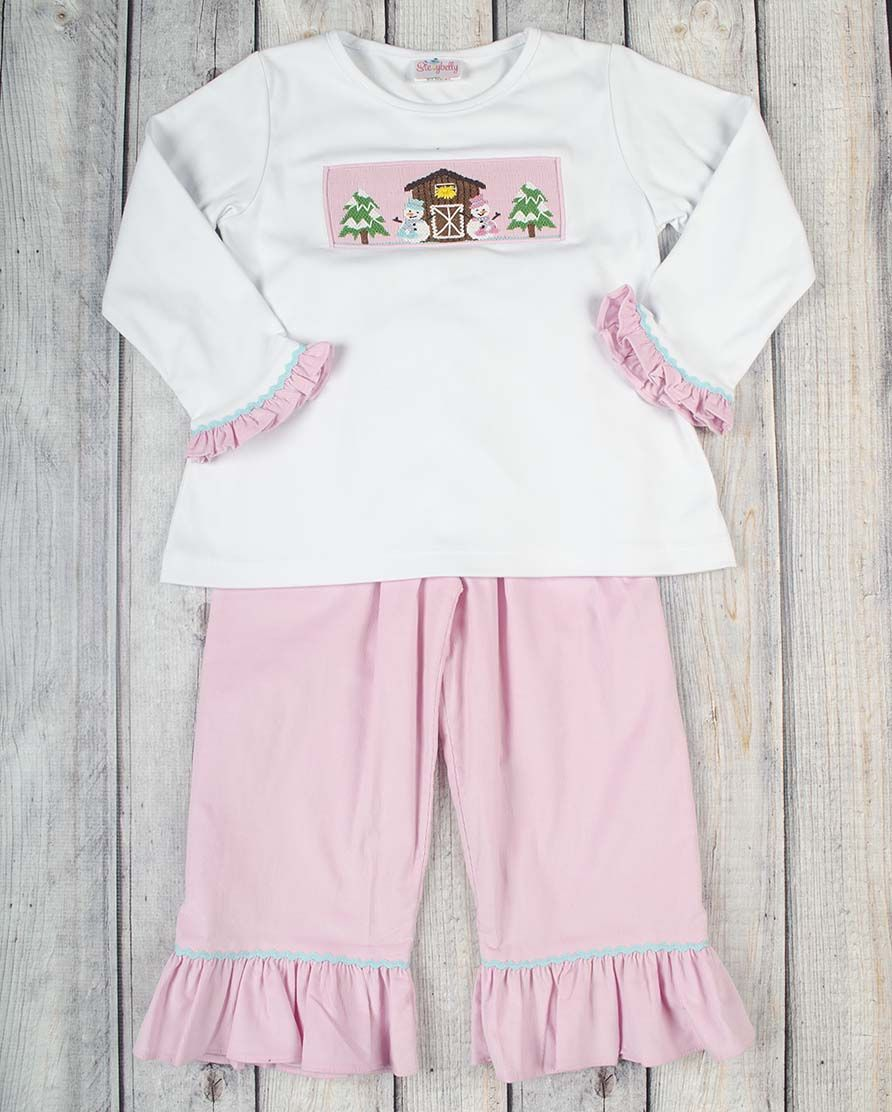 Stellybelly Snow Barn Ruffle Pant Set