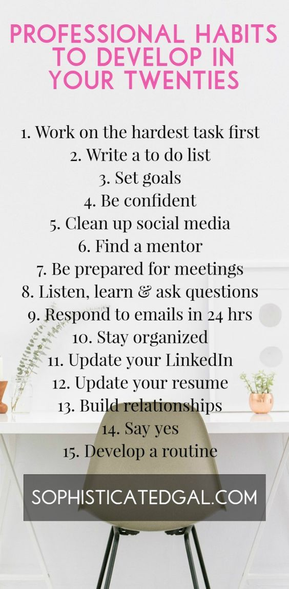 Professional habits to develop in your twenties Motivation Pinterest