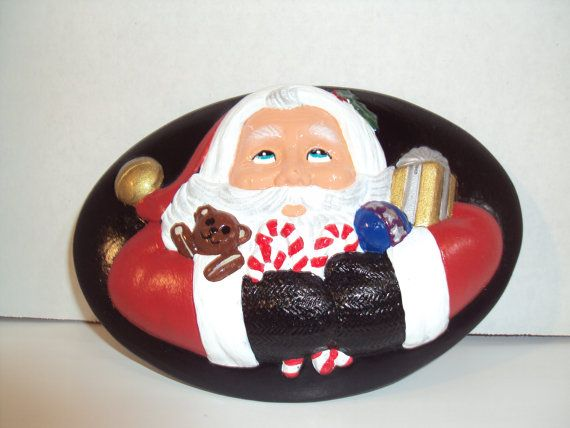 Ceramic Oval  Decorative Plate    Santa by Lynnshanpaintedgifts, $8.50