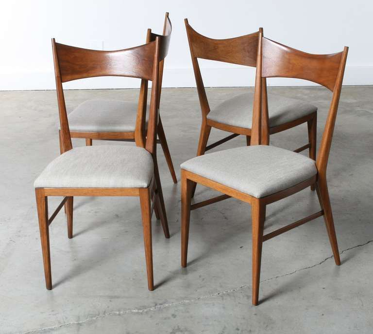 Paul Mccobb Bowtie Walnut Dining Chairs For Calvin Furniture Set Of 4 3 Walnut Dining Chairs Chair Dining Chairs