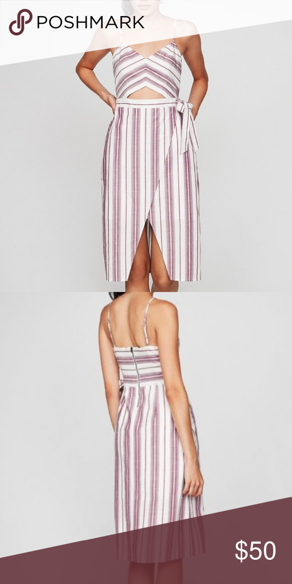 a7aa8ba4c65bb NWT Express Striped Cut-Out Wrap Front Midi Dress Cute pink/purple striped  cut-out cotton dress from Express. Never been worn. Express Dresses Midi