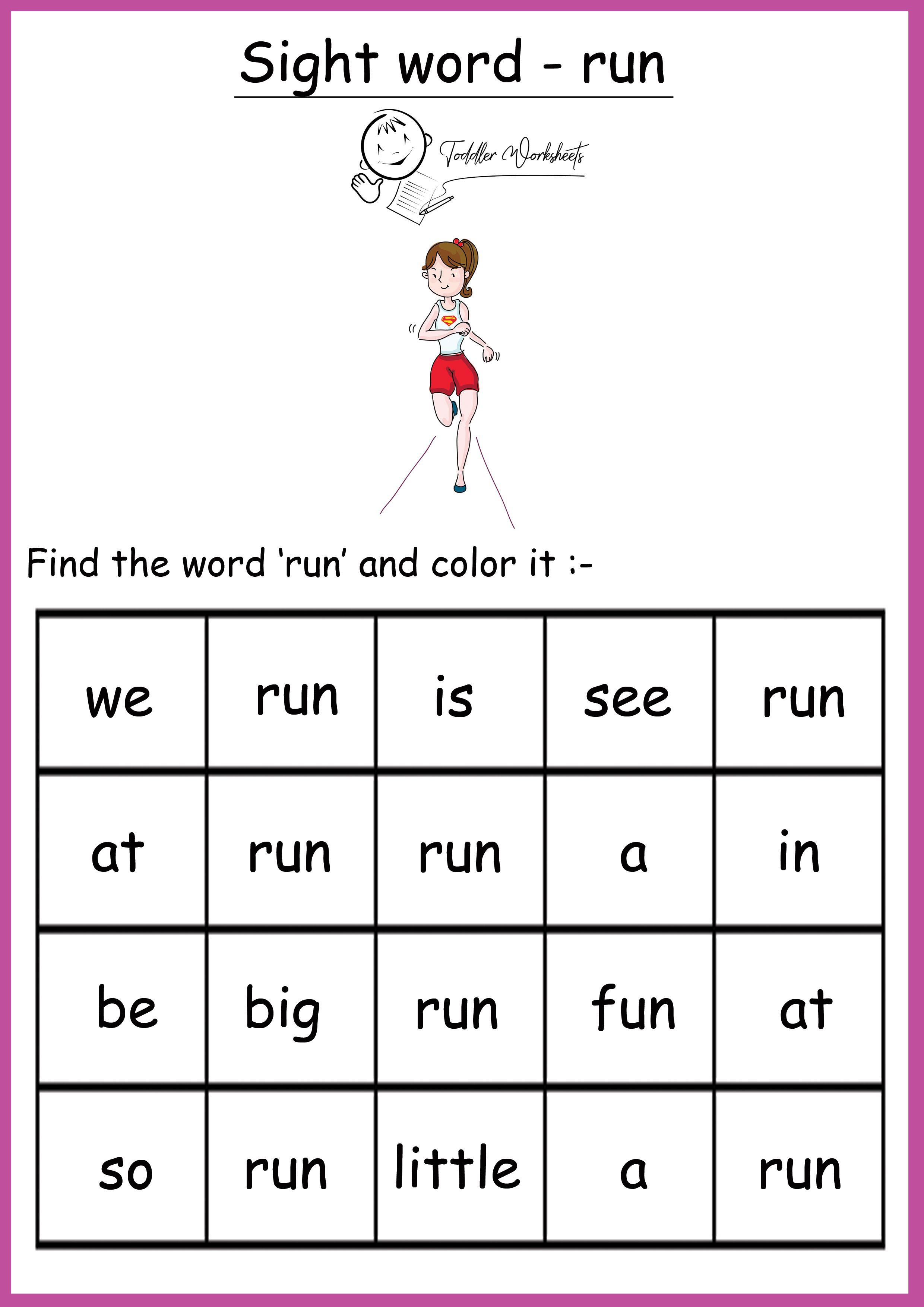 Free Preschool Sight Words Worksheets