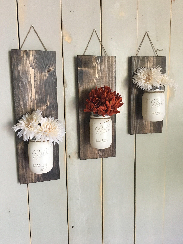 Fall Wall Sconce | Individual Mason Jar Sconce | Cream wall Sconce | Rustic Decor | Painted Mason Jar | Floral wall sconce #masonjardiy