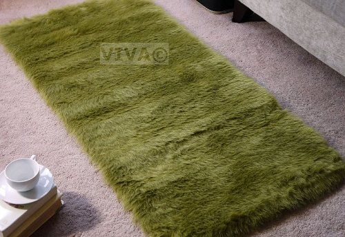 Moss Lime Green Faux Fur Oblong Rectangle Shape Sheepskin Style Rug Washable Mat Rugs 70x140cm