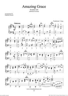 Amazing Grace Advanced Version Sheet Music For Piano Solo Pdf Amazing Grace Sheet Music Sheet Music Grace Music