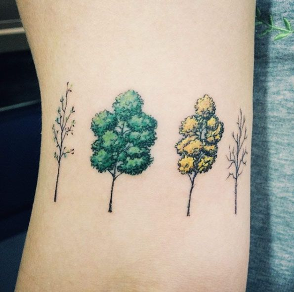 89bf93dbe3e78 Four Seasons Trees by Doy Small Nature Tattoo, Nature Tattoos, Tiny Tree  Tattoo,