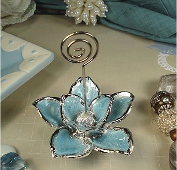 Italian Blue Magnolia Place Card Holder - Italian Wedding Favors. Place card holders make great wedding favors because they have a dual purpose and they will actually be used to hold a special photo when your guest takes it home.
