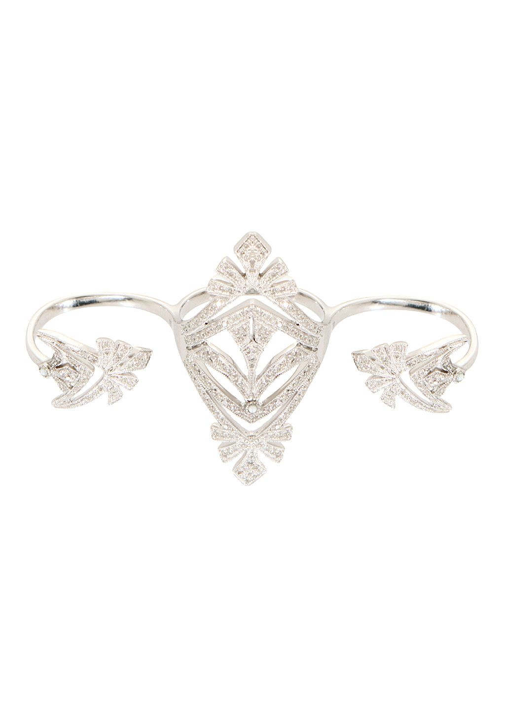Joëlle Jewellery Rings :: Joëlle Jewellery white gold plated silver and white diamonds Antique 3 Fingers Ring | Montaigne Market