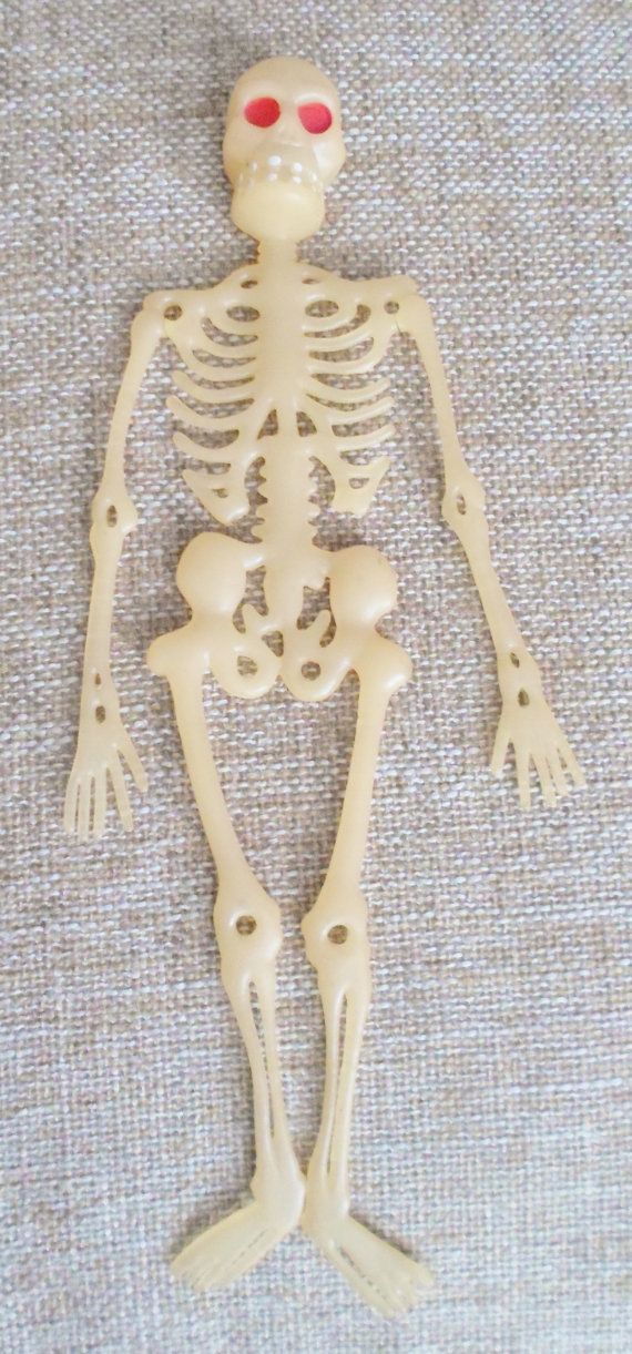 Vintage Halloween Skeleton Rubber Vinyl Small Hanging Decoration By DebscountryVintage 1800