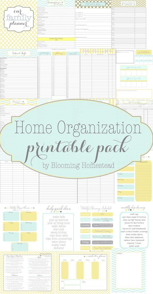 Home Organization Printables  Menu Planners Cleaning Schedules