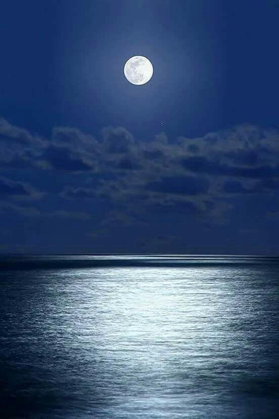 Full moon over the Aegean Sea, Greece