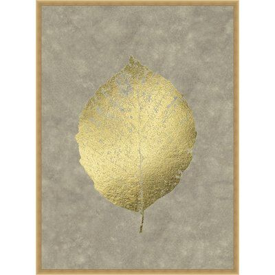 Ashton Wall Décor LLC Trends \'Gold Foil Leaf III on Lichen Wash ...