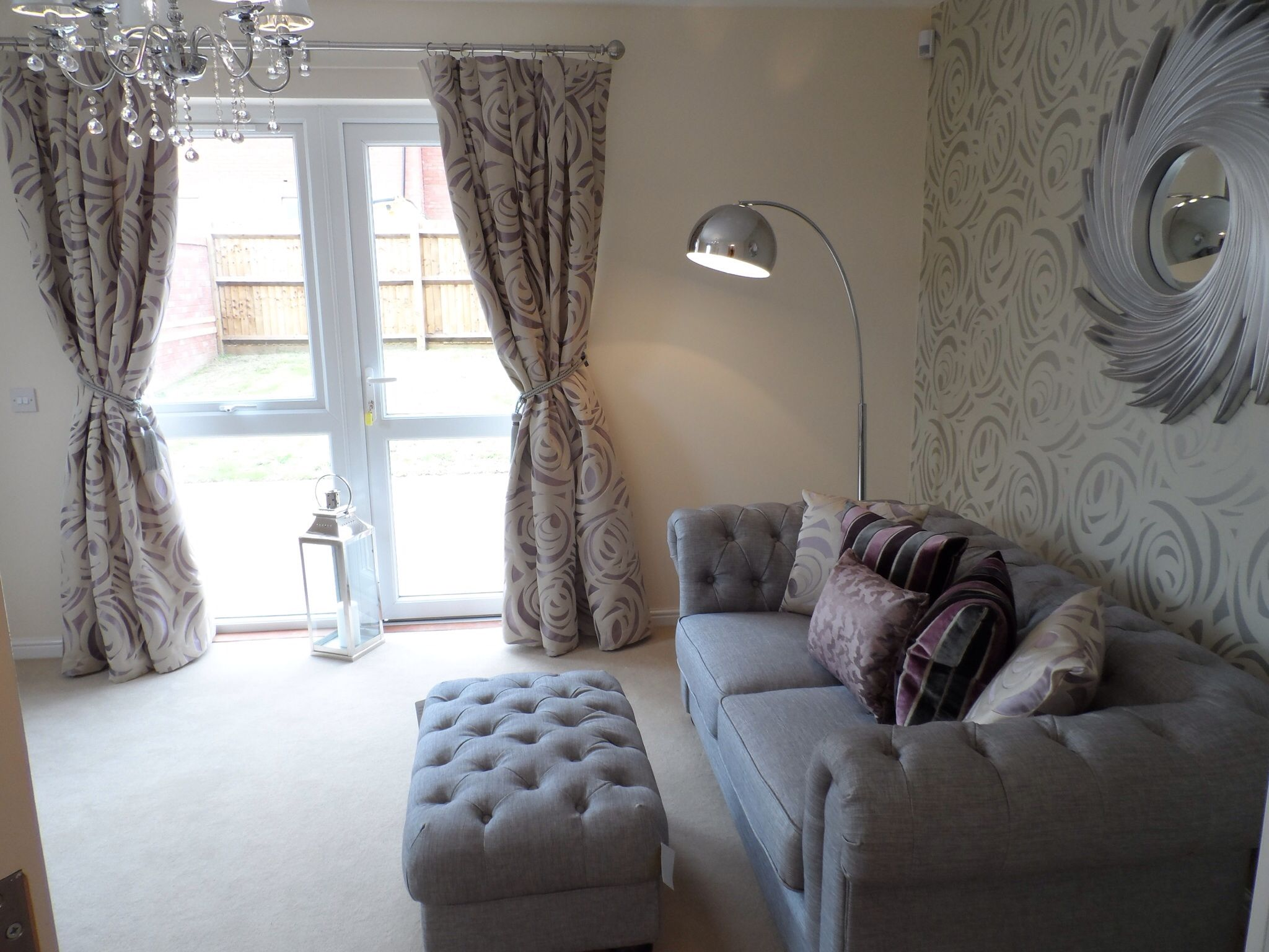 Cae nant show home living room featuring silver linen for Show home living room designs