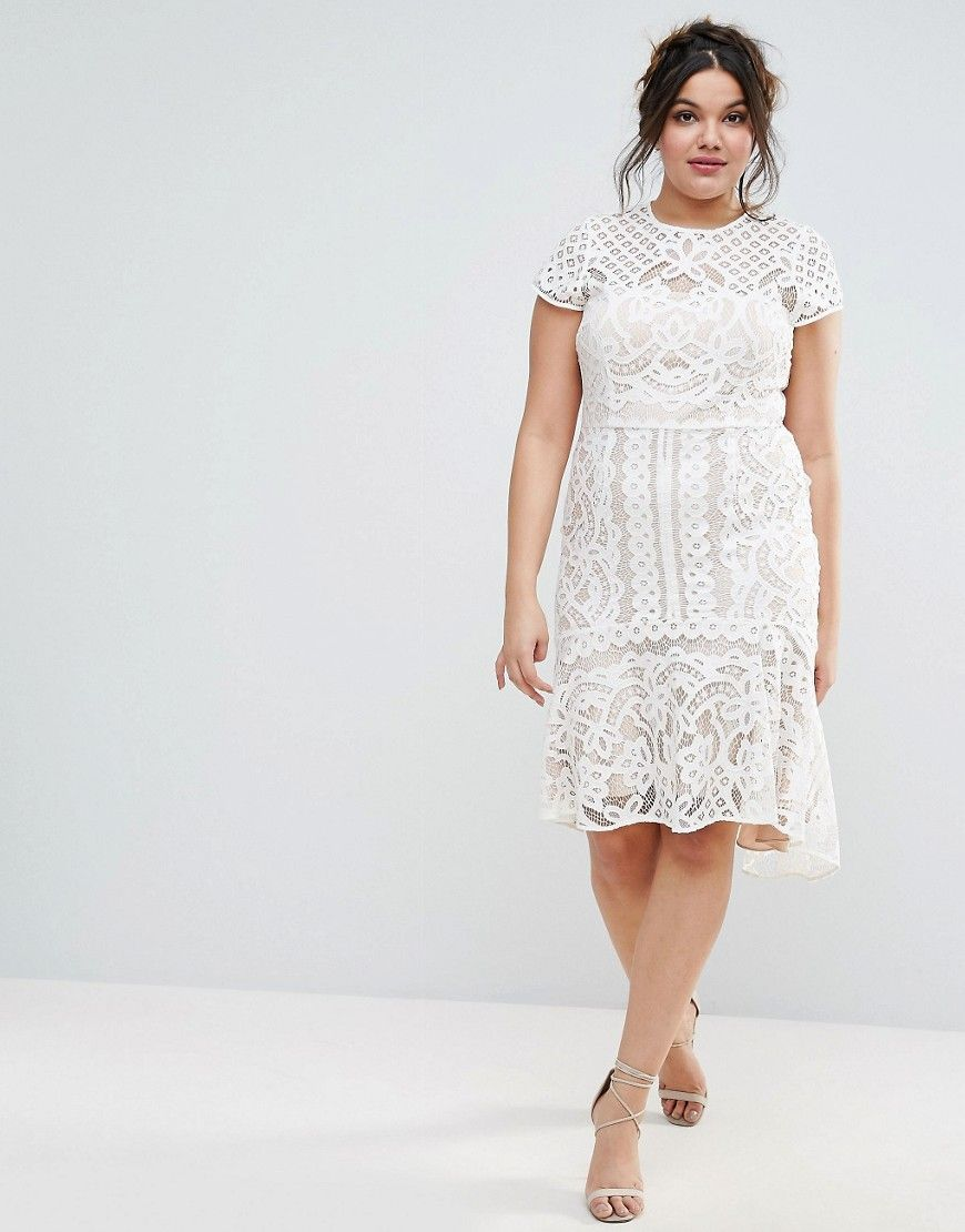 Dee Dee Lace Peplum Dress by Coast Plus - Cream