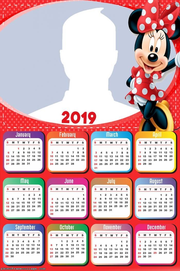 Minnie Red Calendar 2019 Frame Photo Montage Free Online