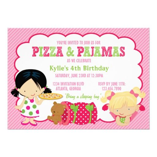 Pizza and Pajamas Sleepover Party Card Sleepover party, Sleepover - best of birthday invitations sleepover party