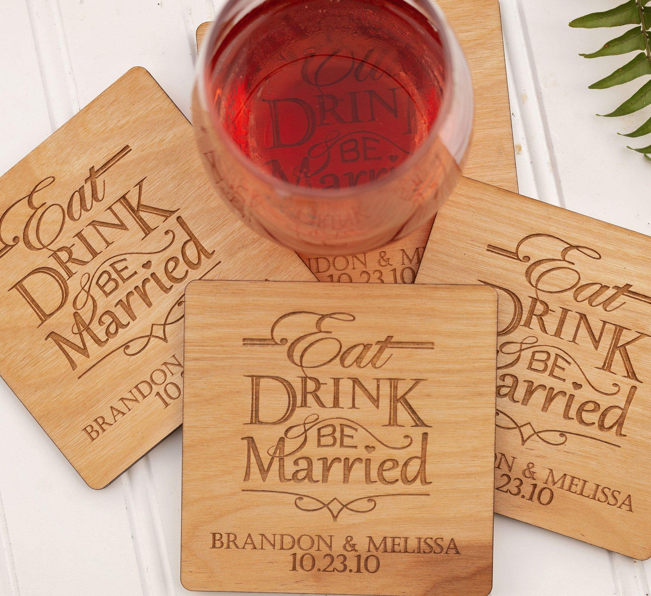 Custom Coaster Woodland Wedding Barn Wedding Decor Drink Coaster Personalized Coasters Rustic Wedding Wedding Favor Wedding Coasters