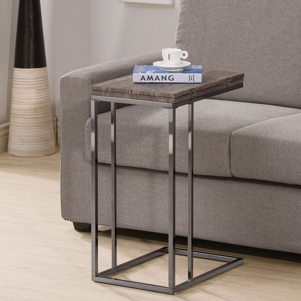 Weathered Grey Finish Expandableside End Table (Weathered Grey Expanable Side Table), Gray