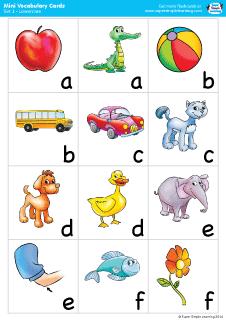 Lowercase vocabulary mini flashcards from Super Simple Learning. #preK #Kindergarten #ESL