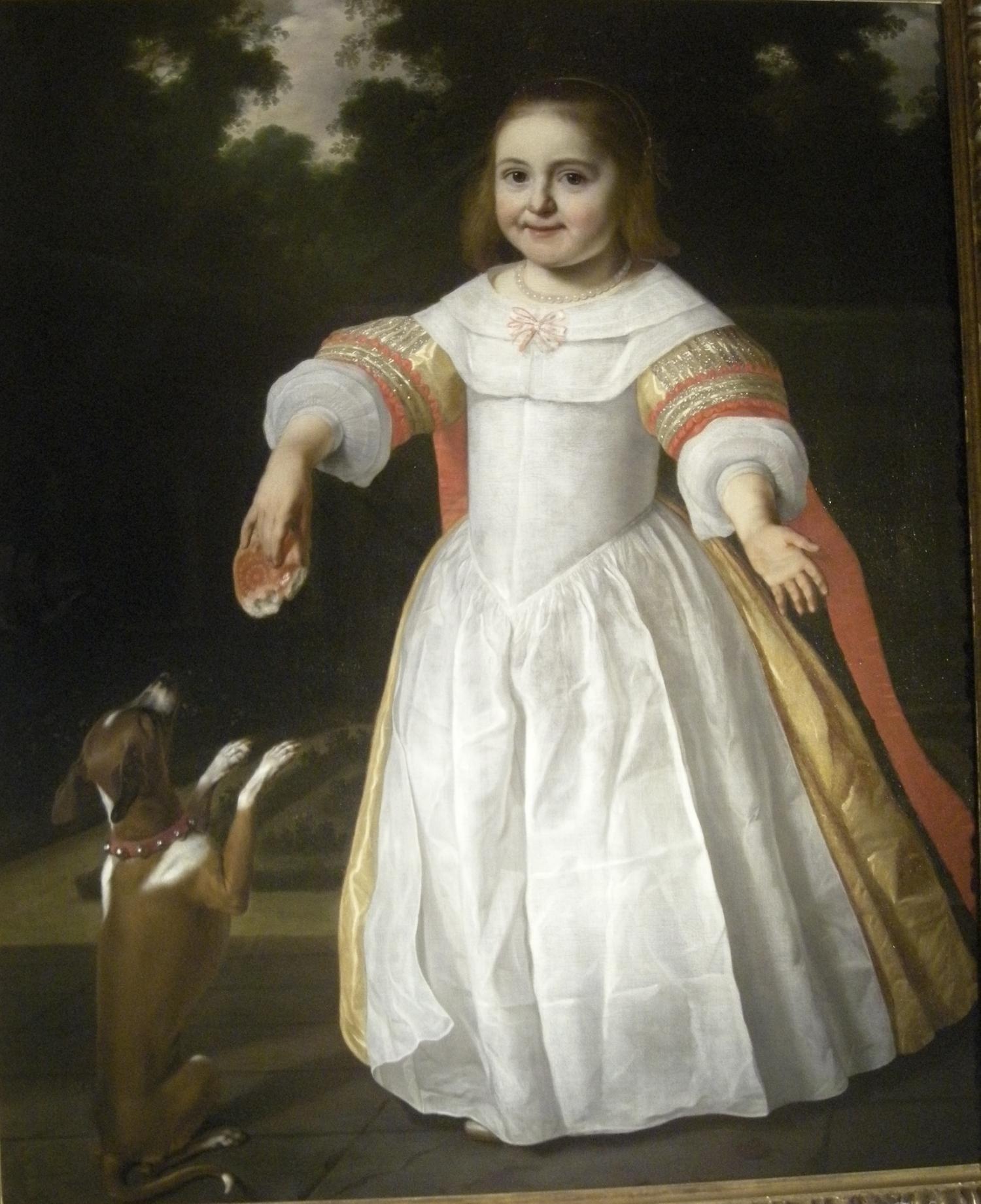 Bartholomeus van der Helst - Little Girl with a Dog in a Garden, 1658 -   Van Nie Antiquairs Amsterdam