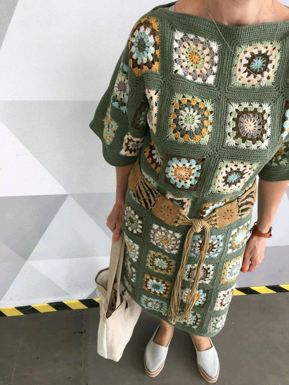 a06483d9f22 Купить Вязаное платье из квадратов в интернет магазине на Ярмарке Мастеров   crochetdresses