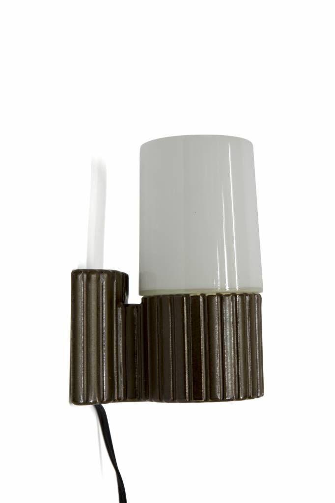 Badkamer Lamp, Porselein met Glas, ca. 1950
