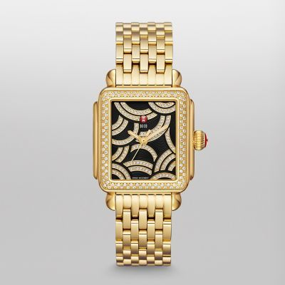 Deco Goes Deco Michele Deco Gold Plated Watch Gold Watch Gold Diamond Watches